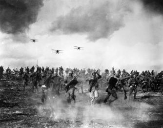 FILM: WINGS, 1927. World War I battlefield scene from the silent film 'Wings' directed by William A. Wellman, 1927.